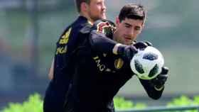 Courtois entrena con Bélgica. Foto Instagram (@thibautcourtois)