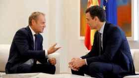 Sánchez recibió este martes en Moncloa al presidente del Consejo Europeo, Donald Tusk