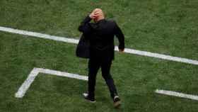 Sampaoli, en el zona técnica de su banquillo tras el 0-1 de Croacia.