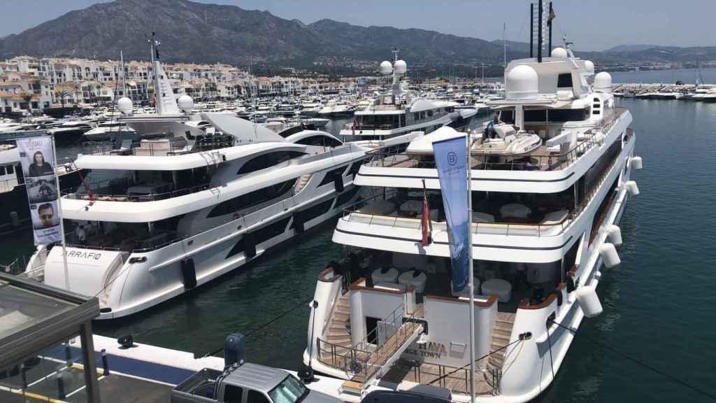 Los yates Arrafio y Lady Haya en Marbella.