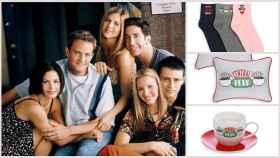 Los productos de 'Friends' junto a los personajes en un montaje.