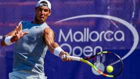 Nadal, durante su último entrenamiento en el Mallorca Open.