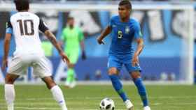 Casemiro, en el partido contra Costa Rica. Foto. cbf.com.br