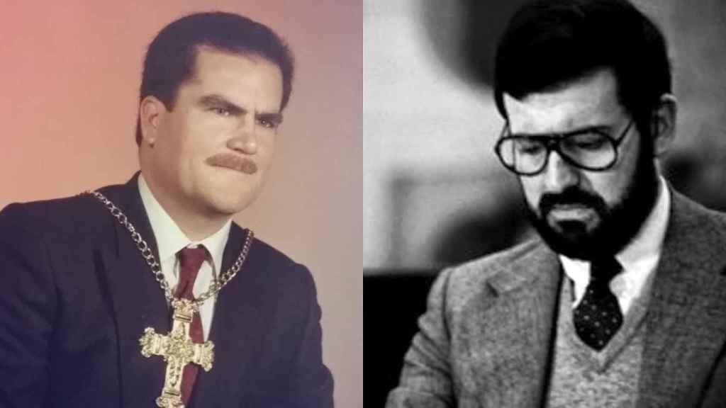 A la izquierda, en una foto cedida por la Hermandad de Santa Cruz de Abanilla (Murcia), el registrador de la propiedad Francisco Riquelme. Junto a él, Mariano Rajoy, a quien sustituyó en la plaza de Santa Pola (Alicante) durante los últimos 28 años.