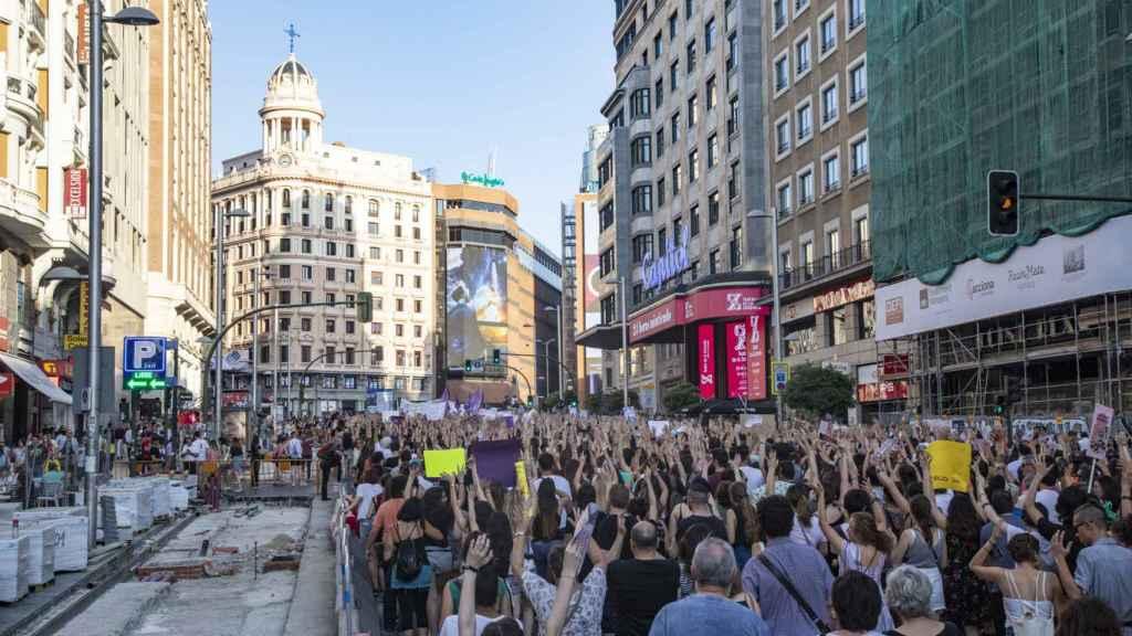 Manifestación en Madrid contra la puesta en libertad de 'La Manada'.
