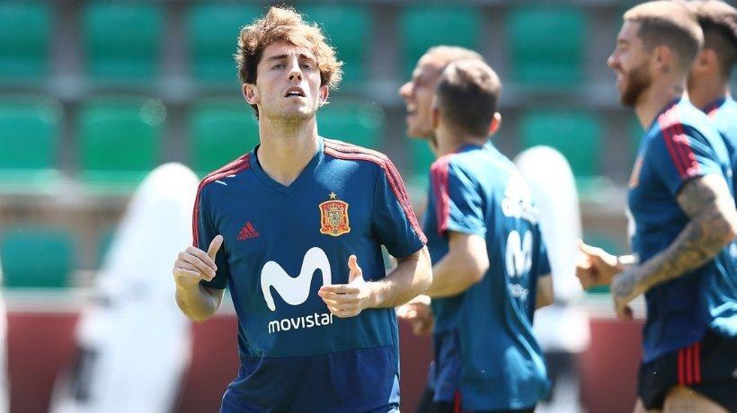 Odriozola durante un entrenamiento con España. Foto: Facebook (@sefutbol).