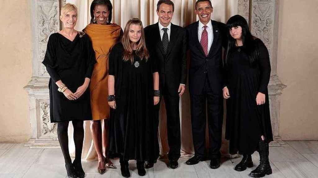 Barack y Michelle Obama junto a Zapatero, Sonsoles Espinosa y sus hijas, Laura y Alba.