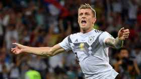 Kroos celebrando un gol con Alemania. Foto: Twitter (@DFB_team).