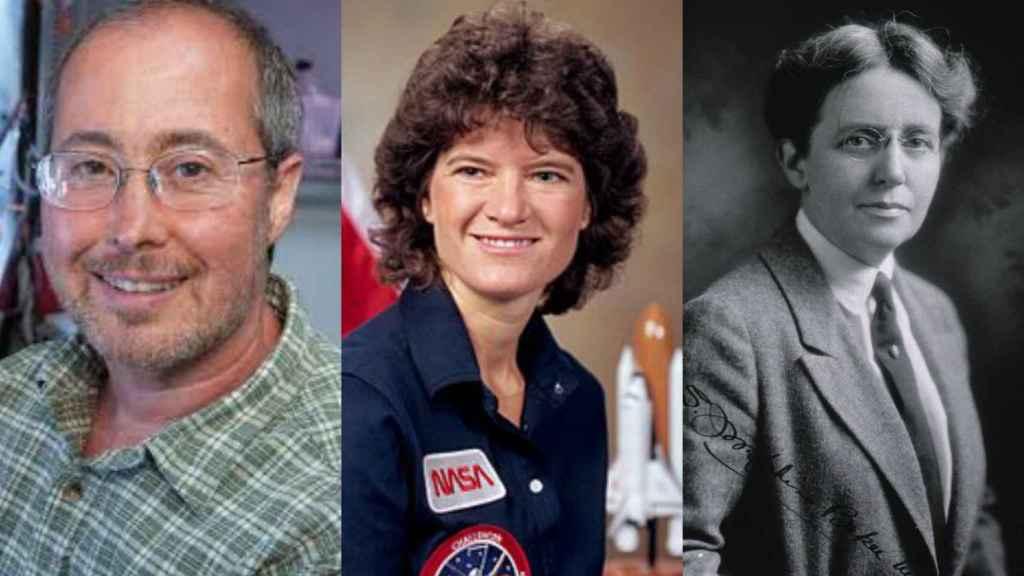 De izquierda a derecha, Ben Barres, Sally Ride y Josephine Baker.
