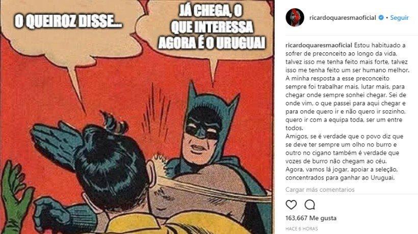 Quaresma responde a Queiroz.Foto: Instagram (@ricardoquaresmaoficial)