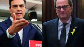 Los presidentes del Gobierno y de la Generalidad catalana, Pedro Sánchez y Quim Torra