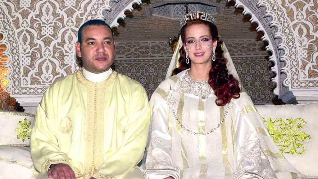 El rey Mohamed VI y Lalla Salma el día de su boda.