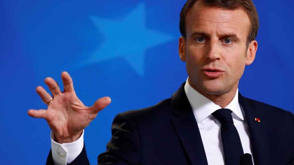 El presidente francés, Emmanuel Macron, al terminar la cumbre de Bruselas