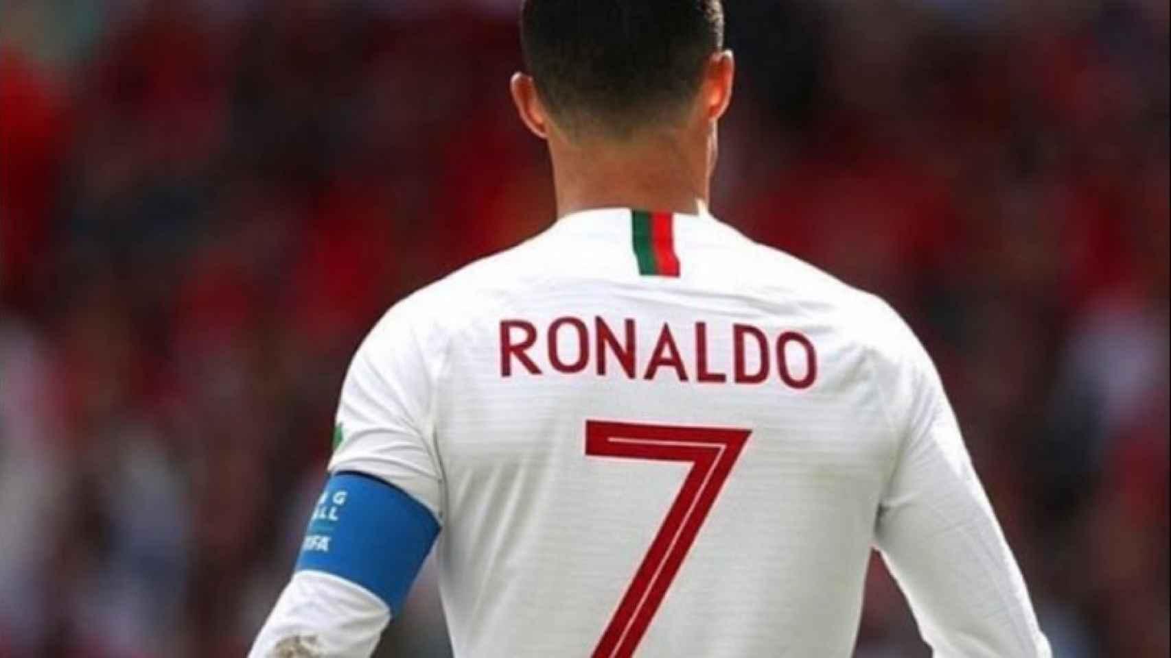 Cristiano Ronaldo en el partido contra Marruecos. Foto: Instagram (@katiaaveirooficial)