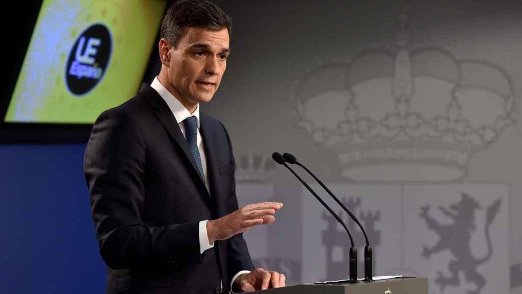 El presidente Sánchez, durante la rueda de prensa final del Consejo Europeo