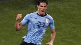 Cavani, en la celebración de su segundo gol a Portugal.