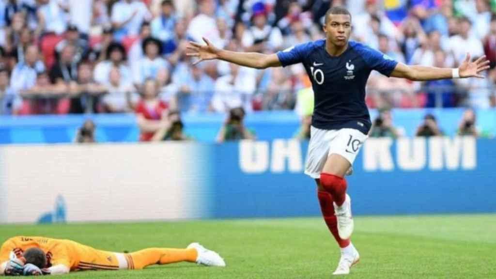 Mbappé, en la victoria de Francia ante Argentina en el Mundial. Foto: Twitter (@KMbappe)