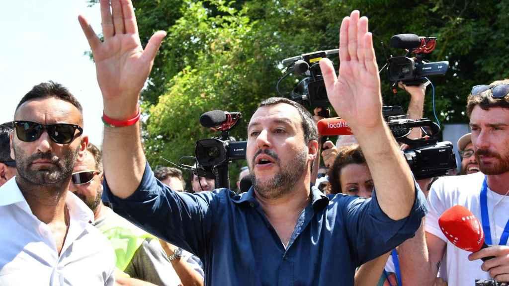 Salvini, durante el acto de la Liga Norte, este domingo.
