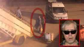 Andrey Sulichin, en el momento de su expulsión del avión y en una foto de 2013.