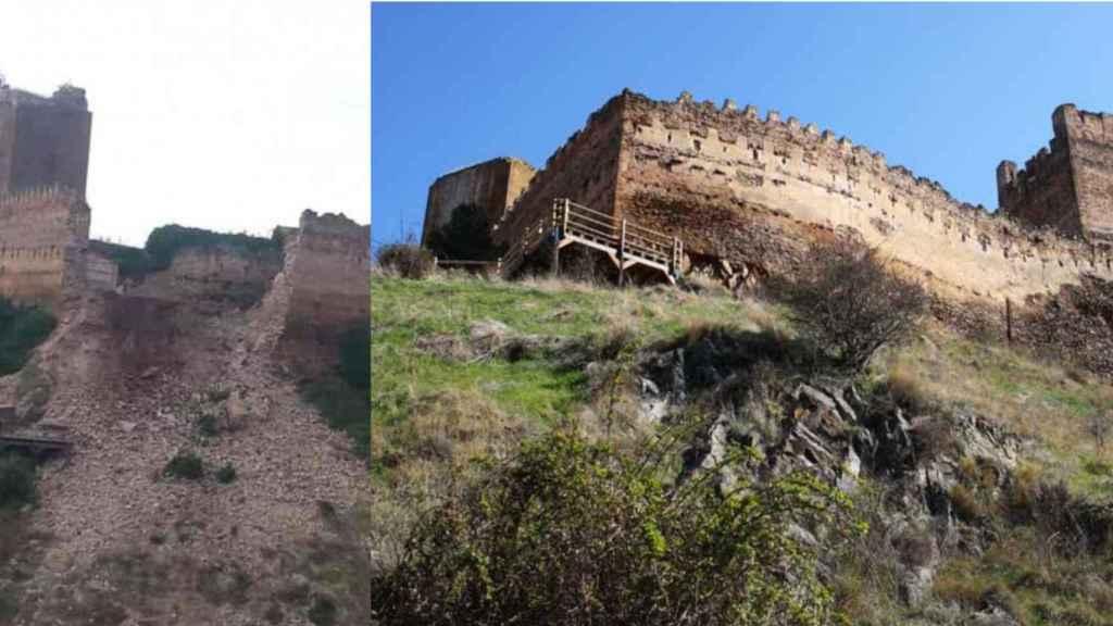 El castillo de Vozmediano antes y después del derrumbe.