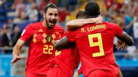 Chadli celebra el gol de Bélgica.