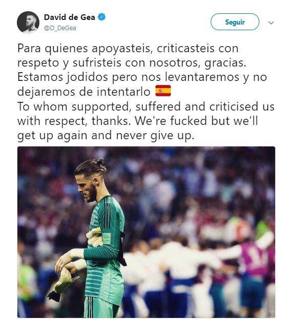 El tweet de De Gea tras su Mundial.Foto: Twitter (@D_DeGea)