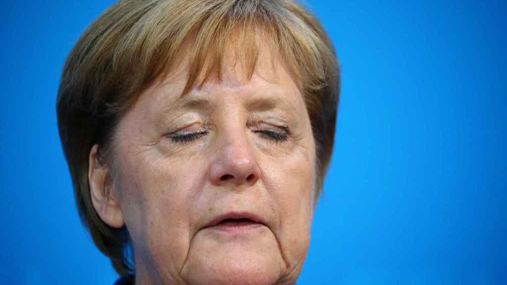 La canciller alemana, Angela Merkel, tras la reunión celebrada en Berlín.
