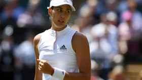 Muguruza, en su estreno en Wimbledon.