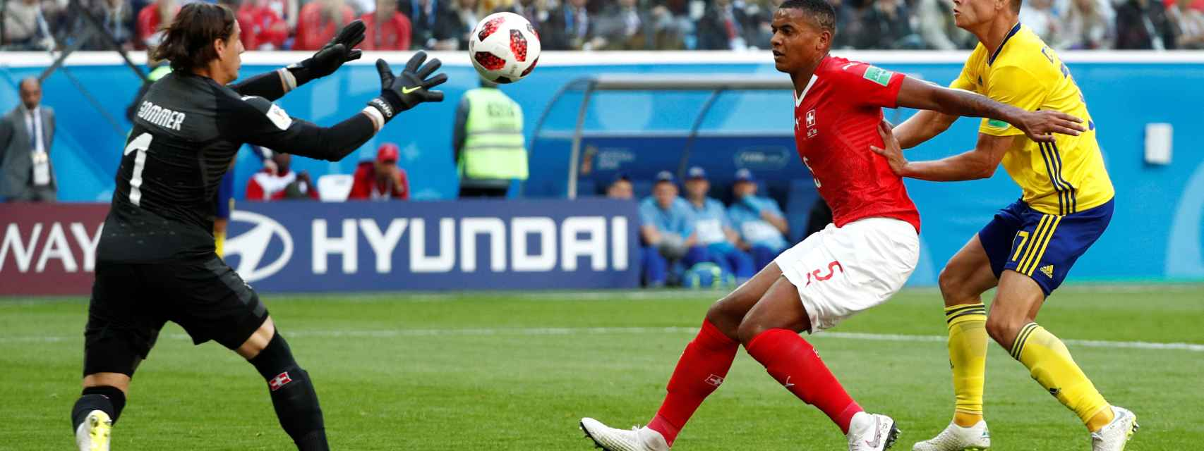 Imagen del partido de octavos del Mundial Suecia - Suiza.