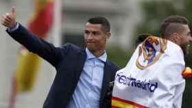 Cristiano Ronaldo en la celebración de La Decimotercera. Foto: Twitter (@ellarguero)