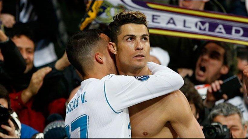 Lucas Vázquez abraza a Cristiano por el gol de la victoria contra la Juventus