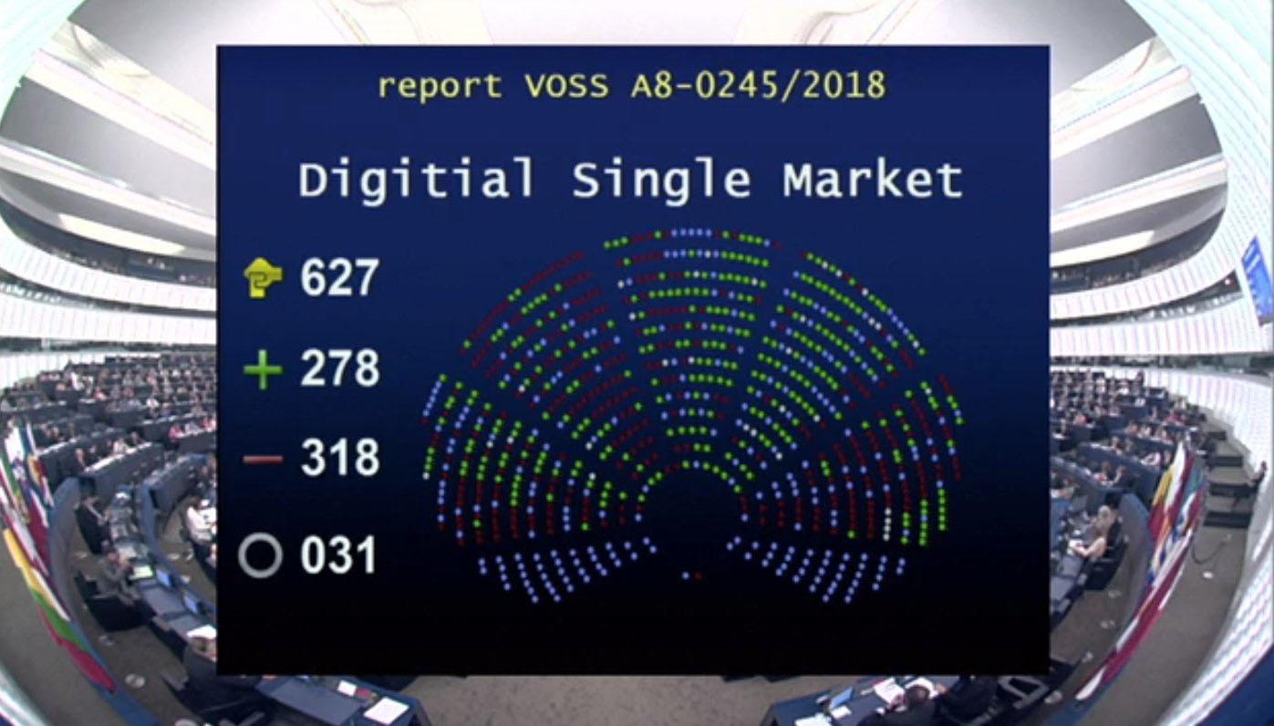 pleno parlamento europeo directiva de derechos de autor articulo 11 y 13