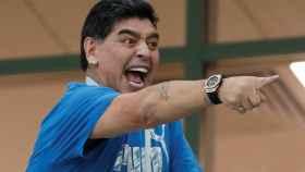 Maradona durante el partido entre Argentina y Croacia.