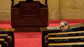 El presidente de la Generalitat, Quim Torra, durante la sesión de control en el Parlament.