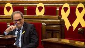 Quim Torra en el Parlamento catalán durante la sesión de control a su Gobierno.