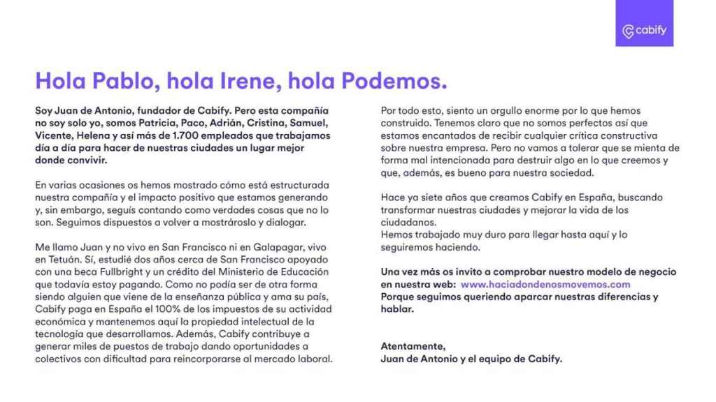 Carta  de Cabify en respuesta a Pablo Iglesias