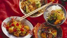Un banquete de comida china.
