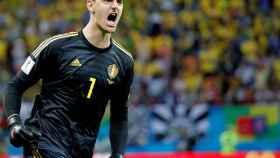 Thibaut Courtois, celebrando un tanto ante Brasil en el Mundial de Rusia
