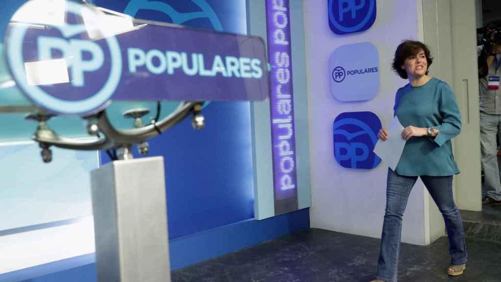 La candidata a presidir el PP, Soraya Sáenz de Santamaría, este jueves en Génova.