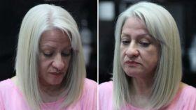 Martha en la peluquería de su amigo Ezequiel.