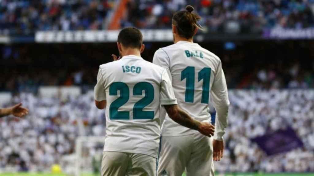 Isco y Bale en el partido contra el Celta. Foto: Pedro Rodriguez/El Bernabéu