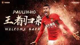 El Guangzhou Evergrande anunció así el regreso de Paulinho.