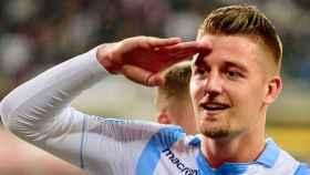 Milinkovic-Savic durante una celebración con la Lazio. Foto: @OfficialSSLazio