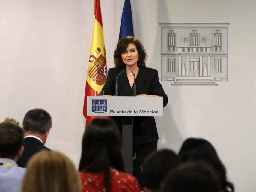 La vicepresidenta, Carmen Calvo, en una comparecencia ante la prensa este lunes.