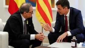 Pedro Sánchez y Quim Torra durante su reunión  este lunes en La Moncloa.