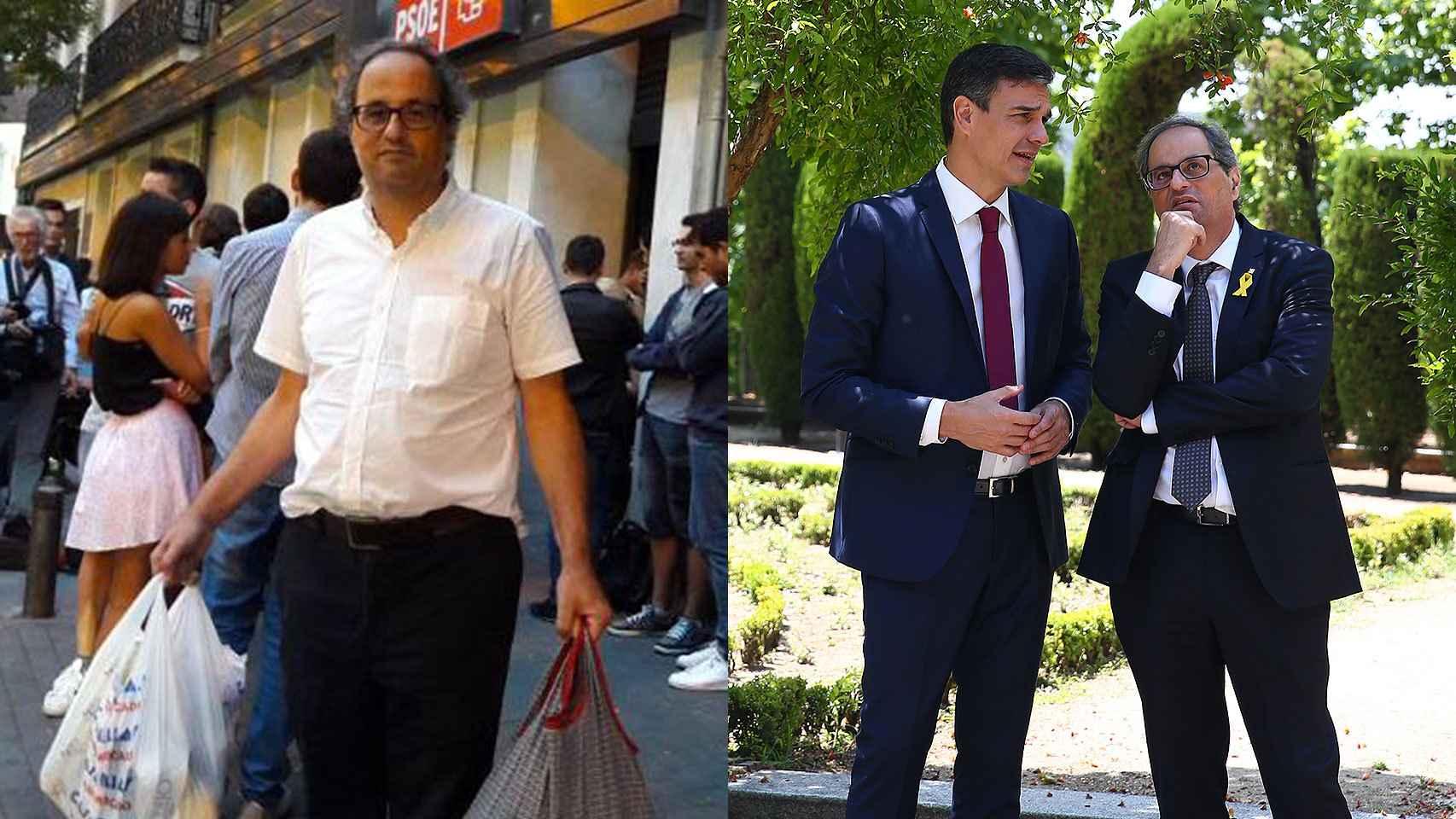 Quim Torra, a la puerta de la sede del PSOE en la madrileña calle Ferraz en 2016 y junto a Pedro Sánchez en La Moncloa en julio de 2018.