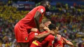 Bélgica celebra su gol. Foto: Twitter (@belreddevils).