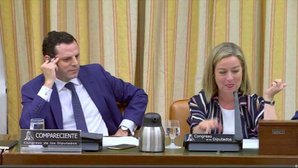 Ignacio Pardo, inspector del BdE y del BCE, junto a Ana Oramas, presidenta de la Comisión que investiga la caída del Popular en el Congreso.