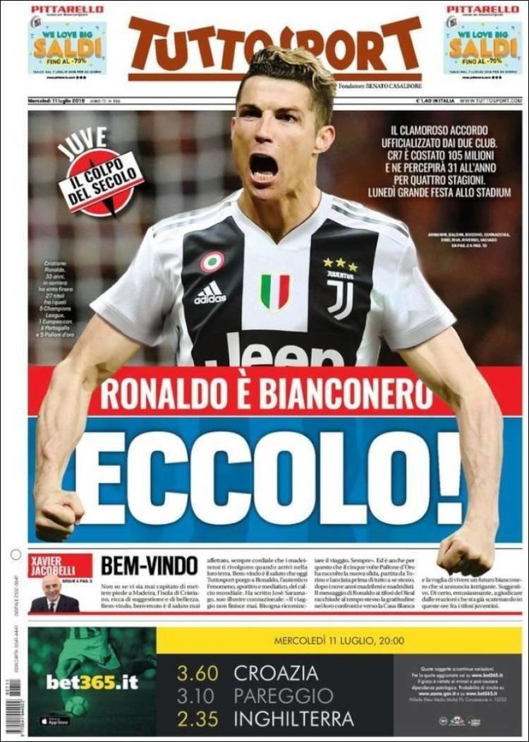 Las portadas italianas celebran la llegada de Cristiano