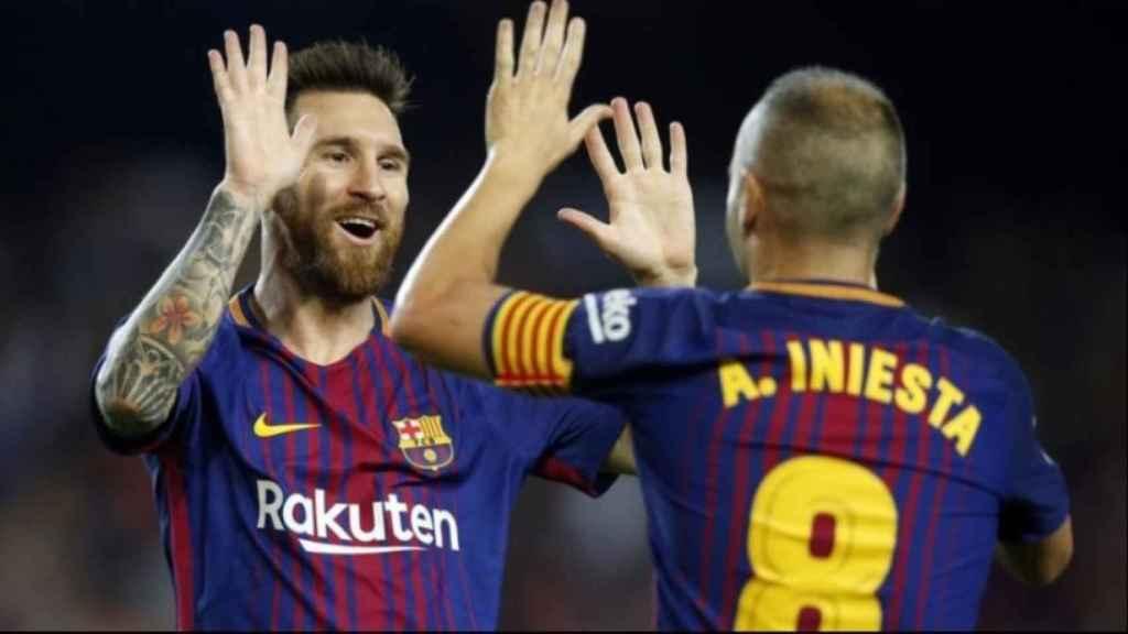 Messi e Iniesta celebran un gol del Barça. Foto: fcbarcelona.es